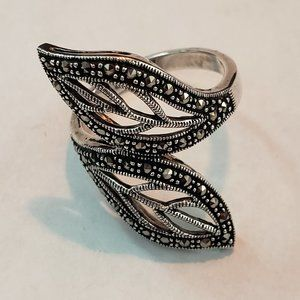 Sterling Silver Marcasite Leaf Ring